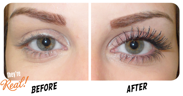 ab8bb798039 Challenge Emily's lashes: The striking 'Before & After' transformation  using they're real! our new mascara