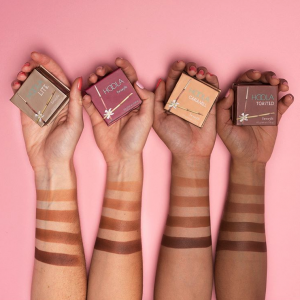 New Hoola Bronzer shades swatched on different skin tones