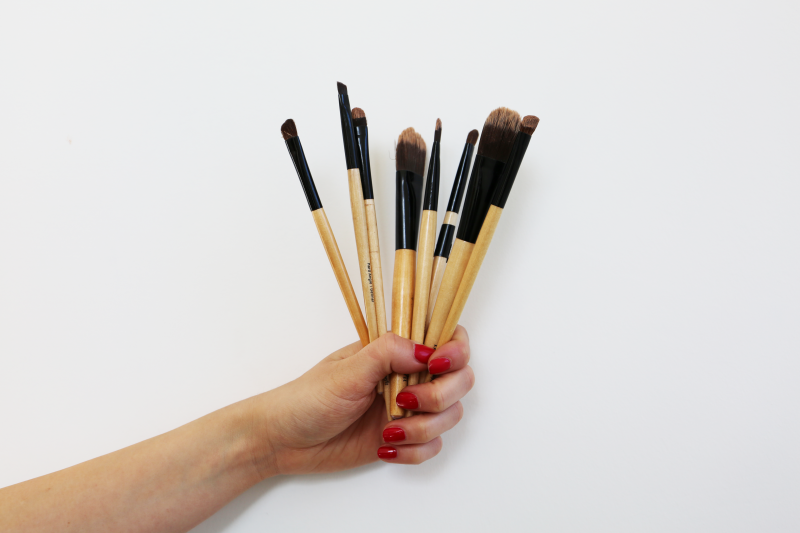 A selection of make-up brushes to be used when prepping lips for lining