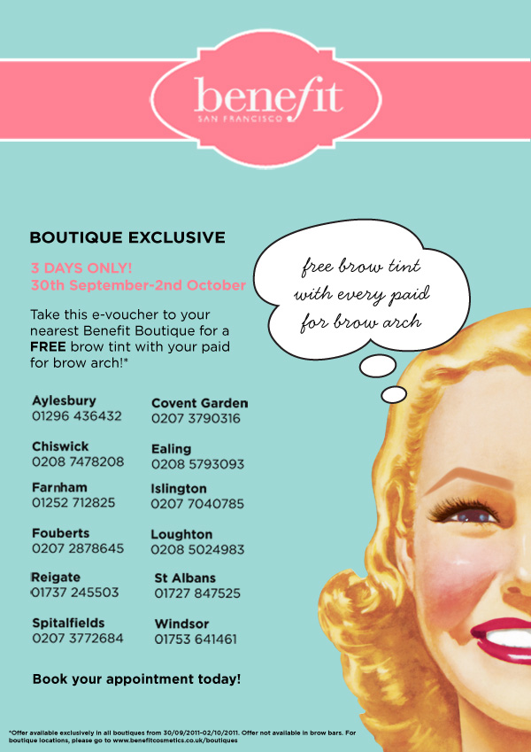 Boutiques Exclusive Free Brow Tint With Paid For Brow Arch 3 Days