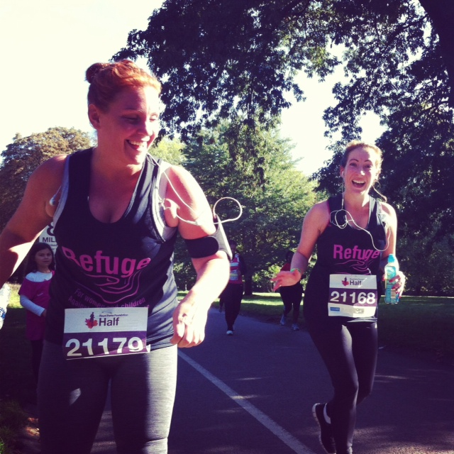 Our Head of Promotions, Kyra Oates, manages a smile during the 13mile run
